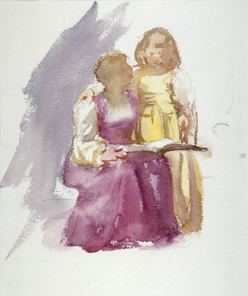 Detail of Seated Woman and a Young Girl by Anna Lea Merritt