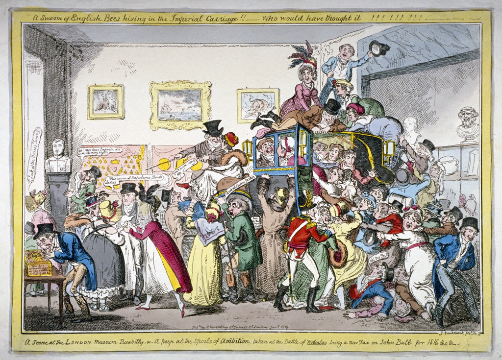 Detail of A swarm of English bees hiving in the Imperial carriage!! a scene at the London Museum by George Cruikshank