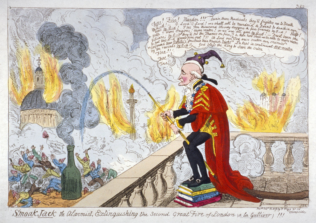 Detail of Smoak Jack the alarmist, extinguishing the second Great Fire of London (a la Gulliver)!!! by Anonymous