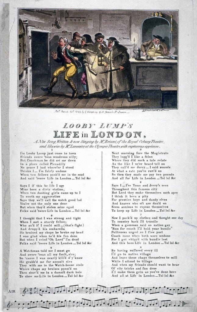 Detail of Looby Lump's life in London, a new song... by George Cruikshank