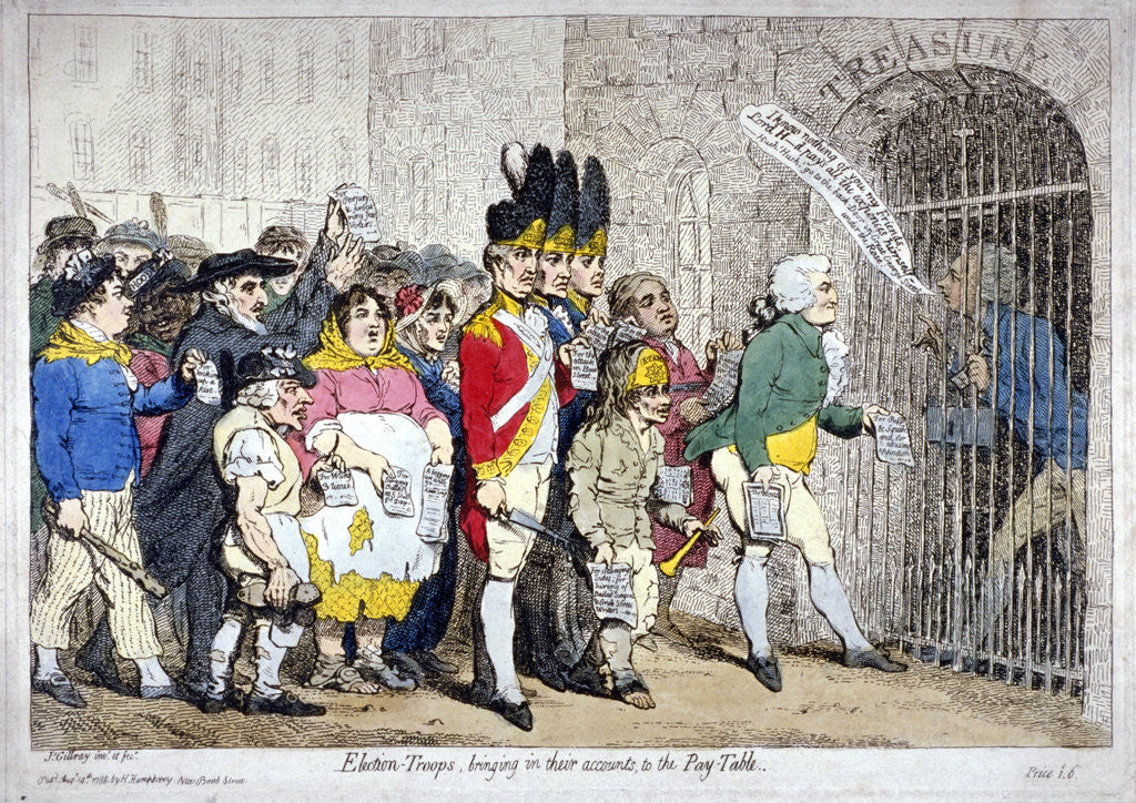 Detail of Election-troops, bringing in their accounts, to the pay-table by James Gillray