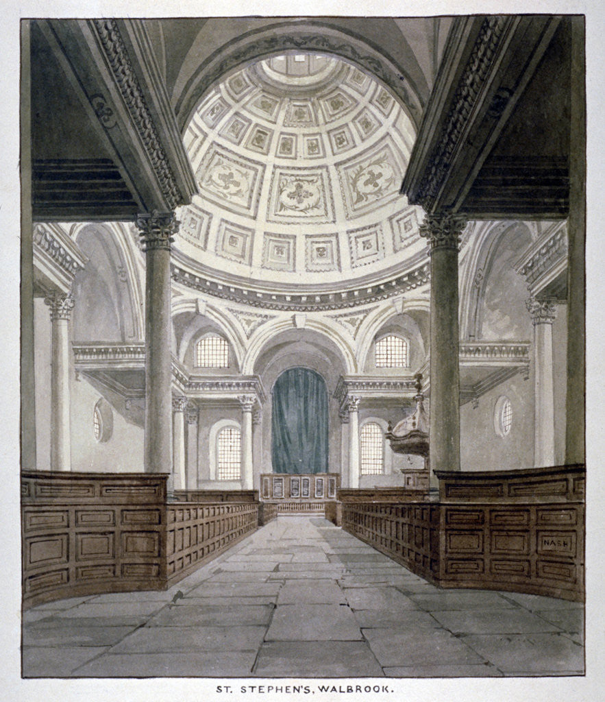 Detail of Church of St Stephen Walbrook, City of London by Frederick Nash