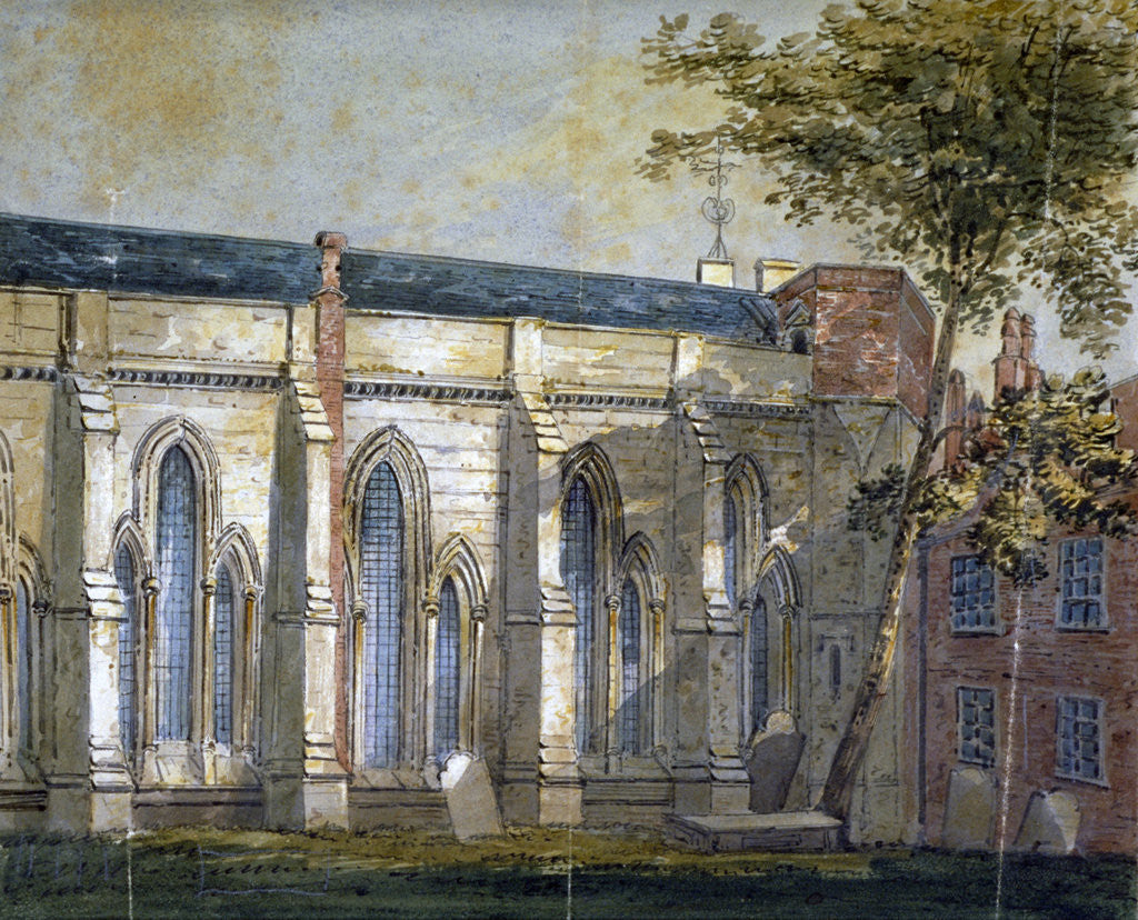 Detail of View of Temple Church, London by