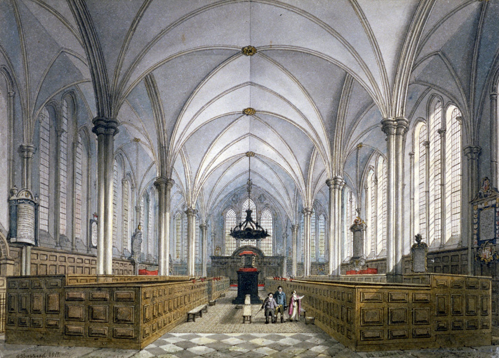 Detail of Interior view of Temple Church, London by