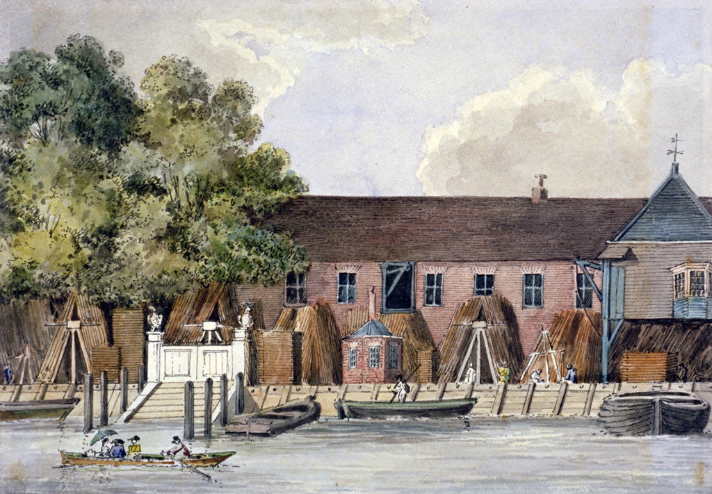 Detail of View of the Steelyard from the River Thames, Upper Thames Street, London by