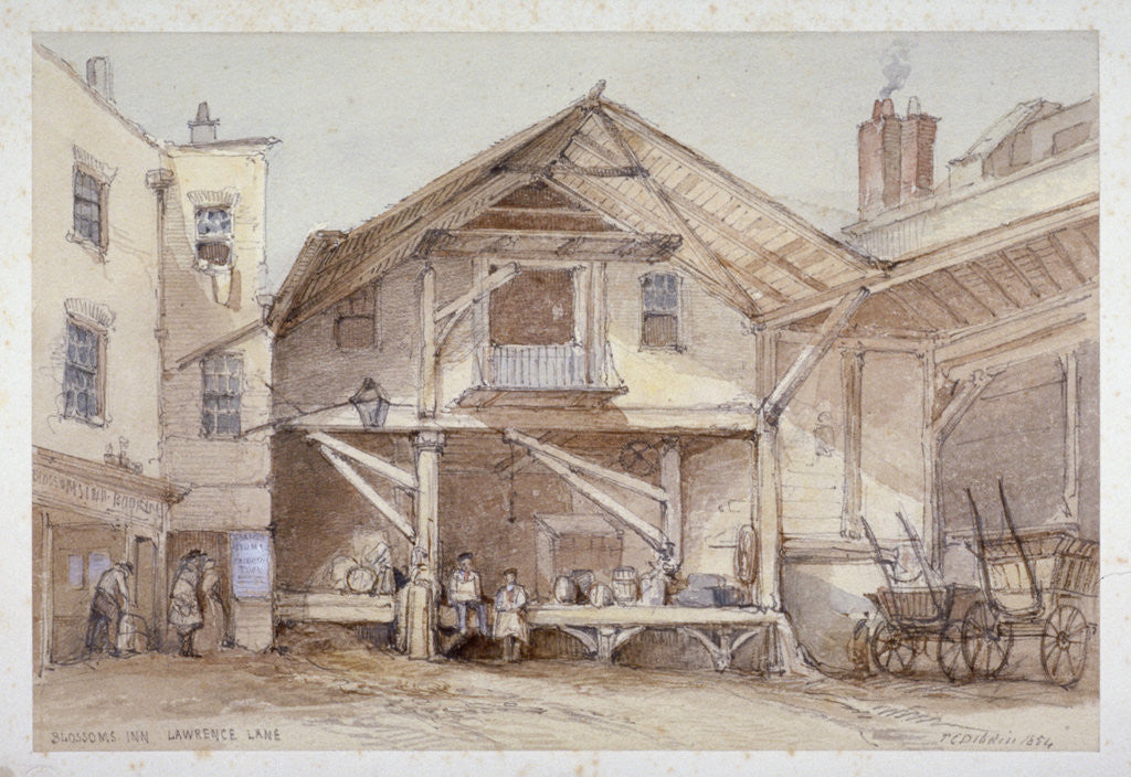 Detail of Blossoms Inn, Lawrence Lane, City of London by Thomas Colman Dibdin