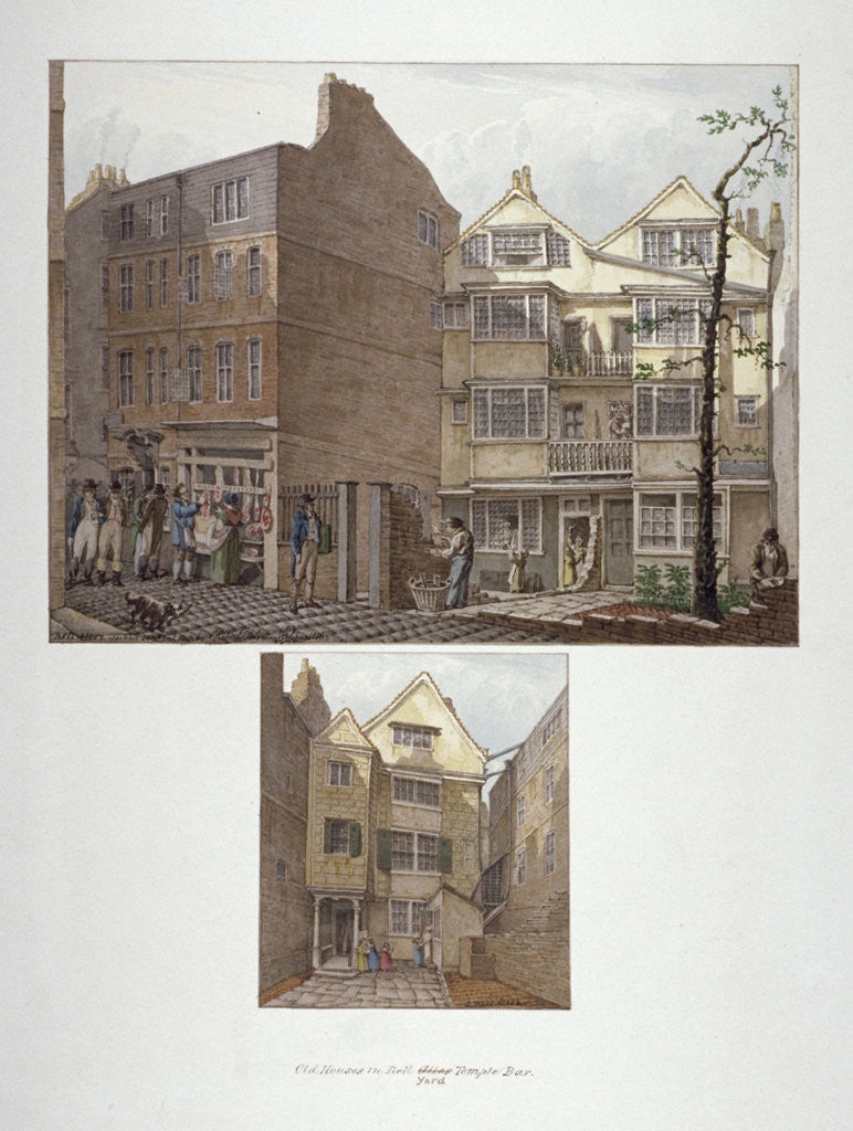 Detail of Two views of 17th century houses in Little Bell Alley, City of London by Robert Blemmell Schnebbelie