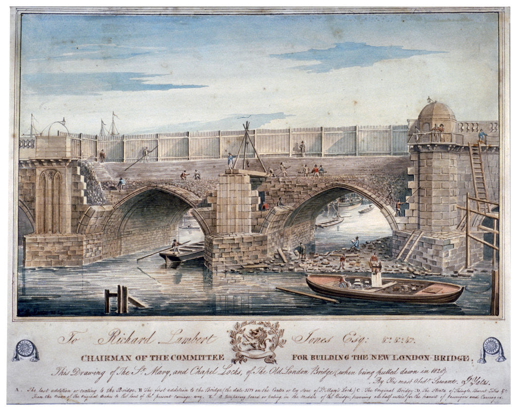 Detail of St Mary and Chapel Locks being pulled down, London Bridge by G Yates