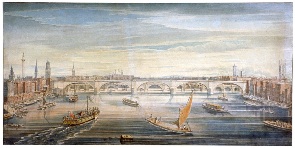 Detail of View of the new London Bridge from the west, with boats and barges on the Thames by G Yates