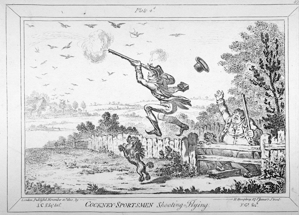 Detail of Cockney-sportsmen shooting flying by James Gillray