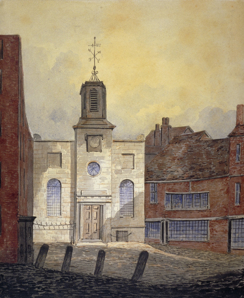 Detail of View of Holy Trinity Church, Minories, City of London by