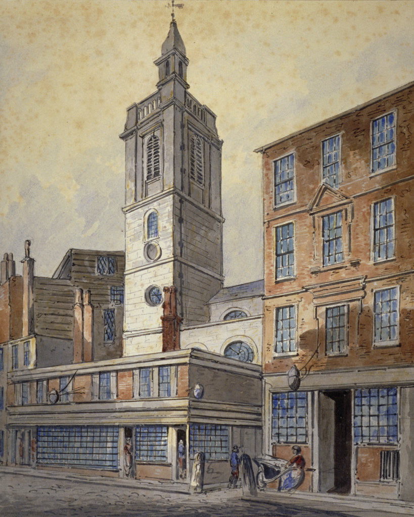 Detail of View of St Dionis Backchurch, City of London by