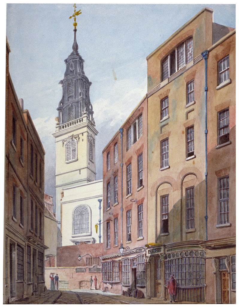 Detail of Church of St Michael, Crooked Lane and part of Crooked Lane, City of London by John Coney