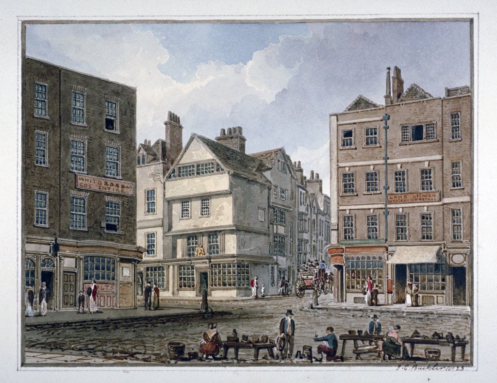 Detail of View of Middle Row and Gray's Inn Lane, Holborn, London by John Chessell Buckler
