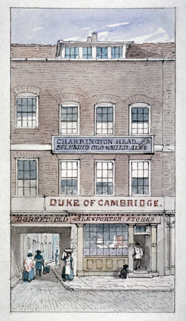 Detail of View of the Duke of Cambridge Tavern, Shoe Lane, City of London by