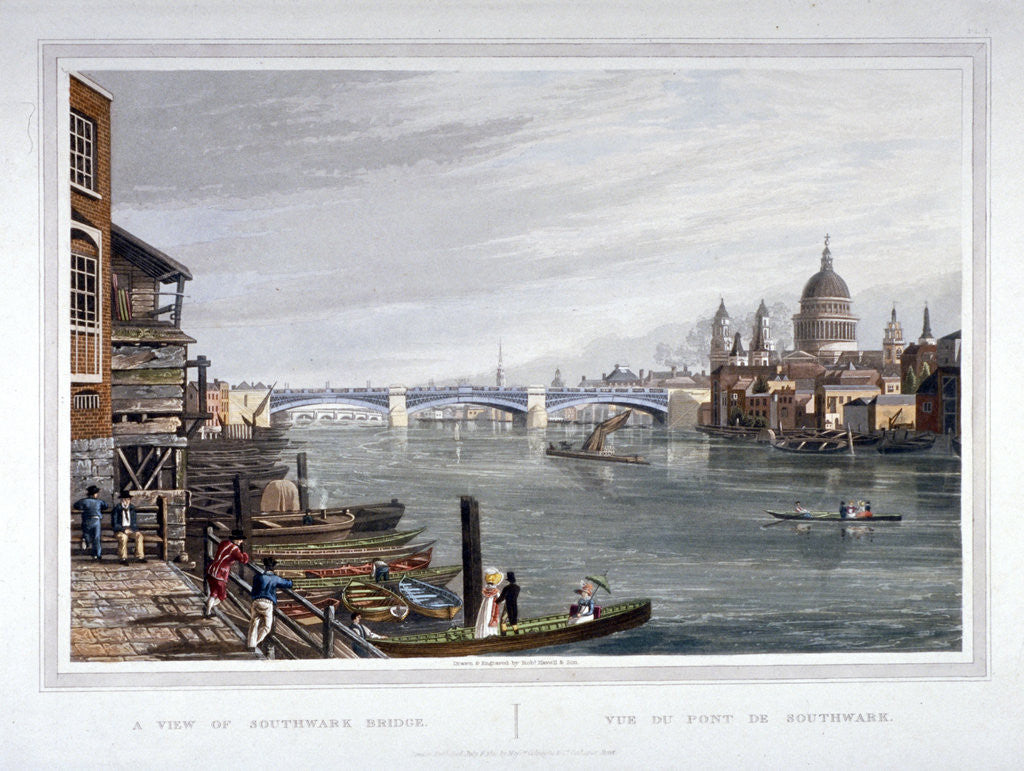 Detail of View of the east side of Southwark Bridge, London by Robert Havell