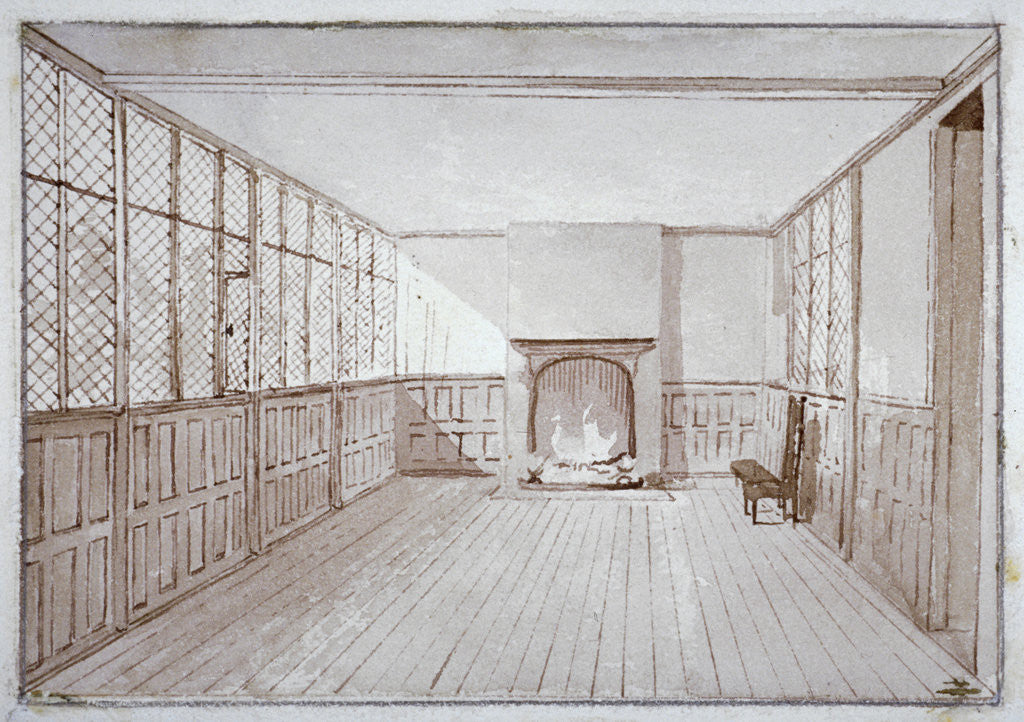 Detail of Interior view of Milton's school room in Barbican, City of London by J Benny