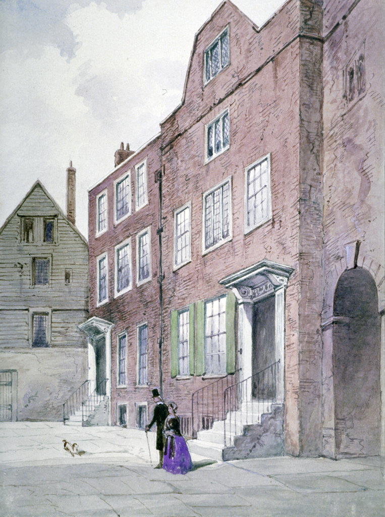 Detail of View of the Vicar General's Office, Bell Yard, Knightrider Street, City of London by Frederick Napoleon Shepherd