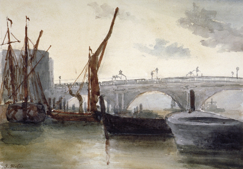 Detail of View of Blackfriars Bridge, with boats in the foreground, London by Thomas Hollis