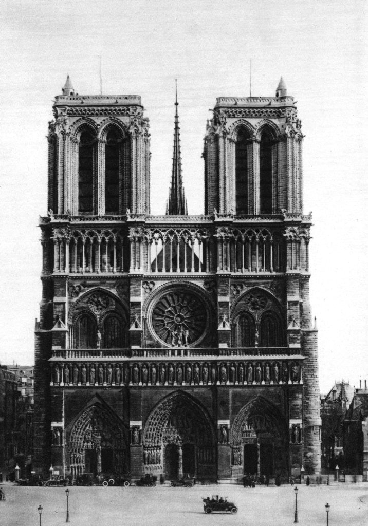 Detail of Front view of Notre Dame, Paris by Ernest Flammarion