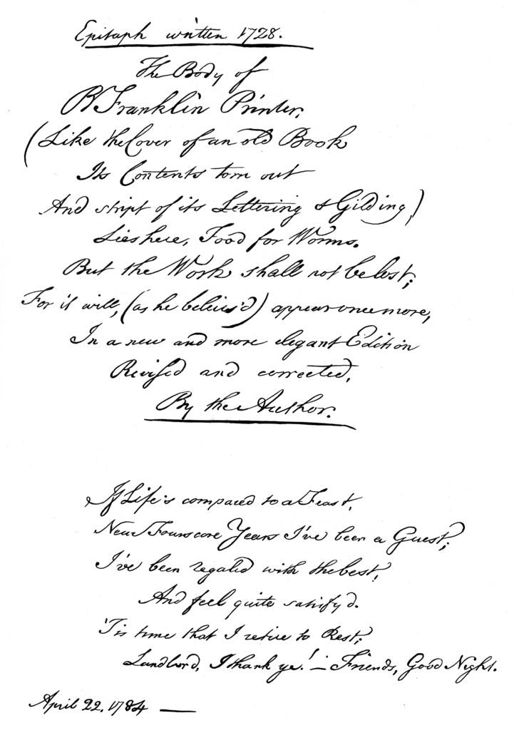 Benjamin Franklin's epitaph, written by himself by Benjamin Franklin