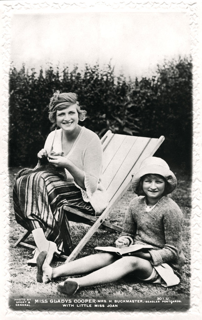Detail of Gladys Cooper (1888-1971), English actress, with her daughter Joan by Sport & General