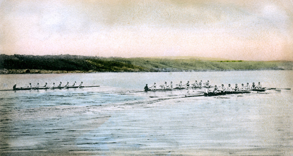 Detail of A Trial Spin of the Cornell Crews on Cayuga Lake by Anonymous