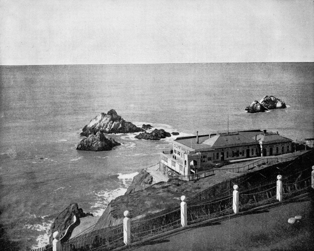 Detail of Cliff House and Seal Rocks, Golden Gate, California, USA by John L Stoddard