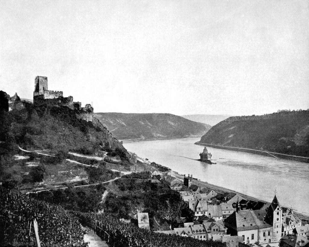 Detail of The Rhine, Gutenfels, and the Pfalz, Germany by John L Stoddard