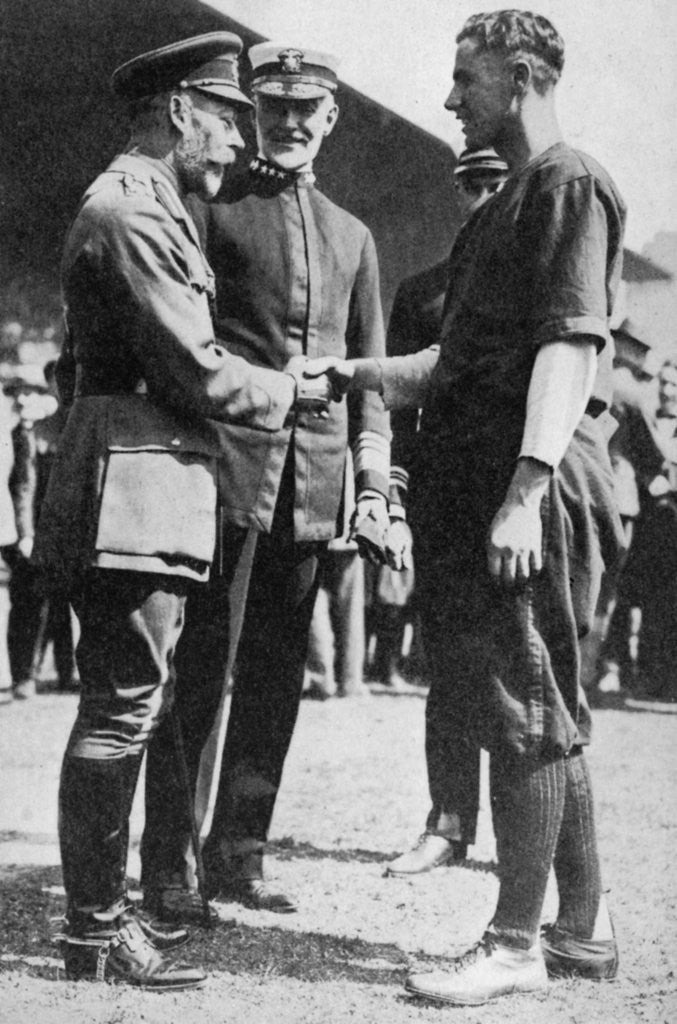 Detail of King George V receiving a American soldier who had been playing baseball, c 1910s by Anonymous