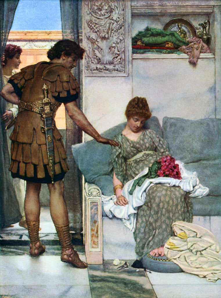 Detail of A Silent Greeting by Sir Lawrence Alma-Tadema