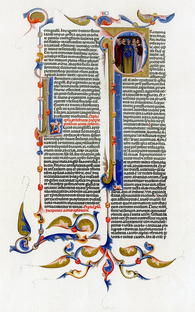Detail of Page of text with illuminated initial letter by Anonymous