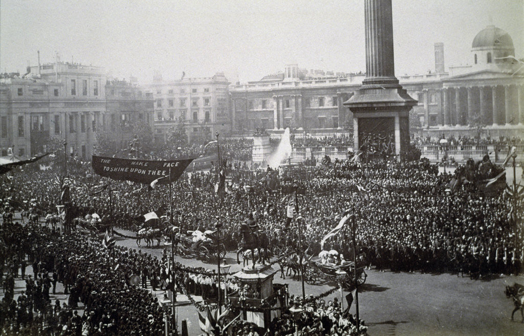 Detail of Queen Victoria in Trafalgar Square during her Golden Jubilee celebrations by Anonymous