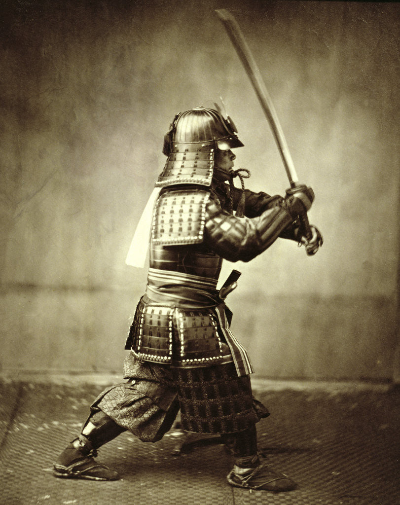 Detail of Samurai with raised sword by Felice Beato