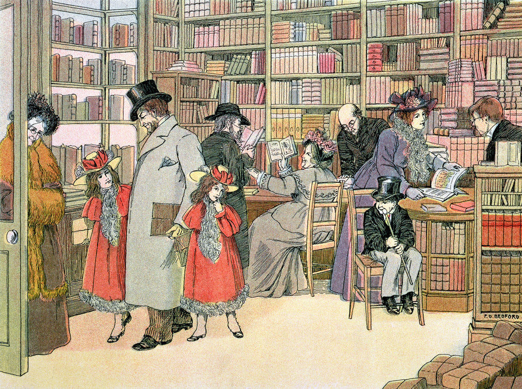 Detail of The Book Shop by Francis Donkin Bedford