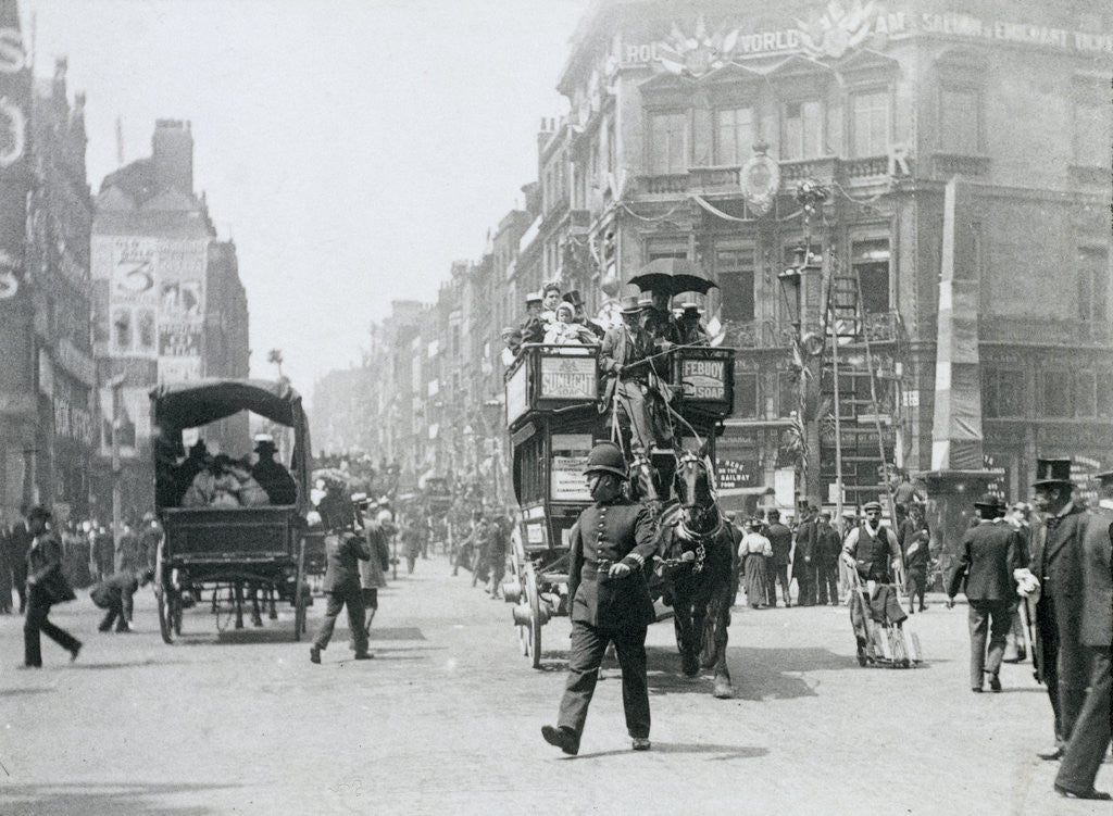 Detail of Ludgate Circus, London, prepared for Queen Victoria's Diamond Jubilee by Paul Martin