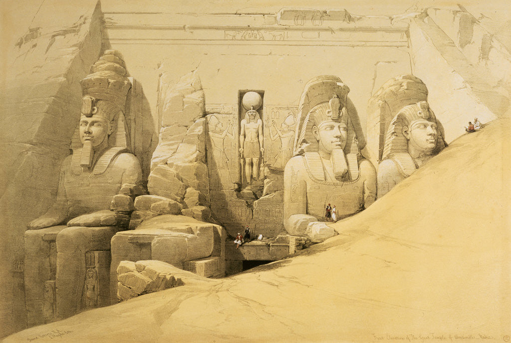 Detail of Front elevation of the Great Temple of Abu Simbel, Nubia by Louis Haghe