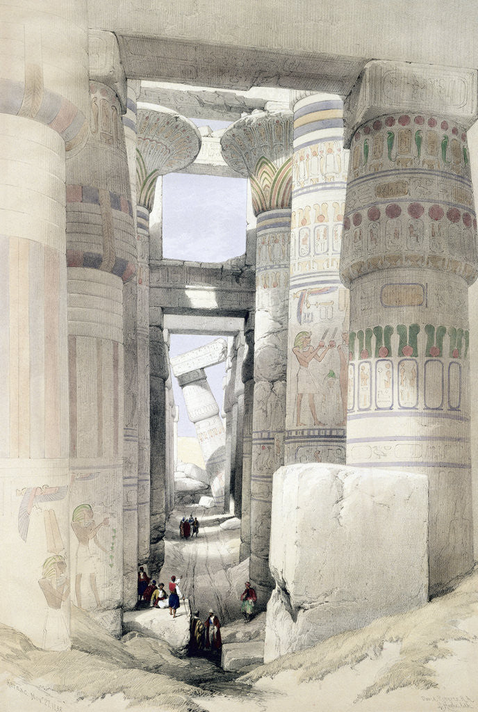 Detail of View through the Hall of Columns, Karnak by David Roberts