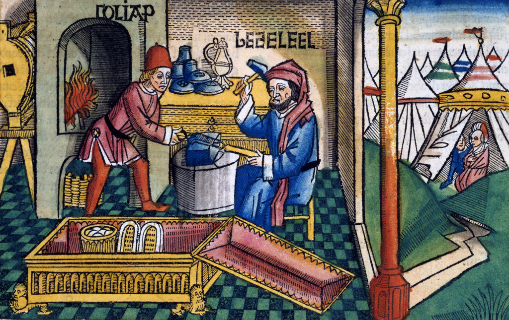 Detail of Exodus 31:2-8: Bezalel and Aholiab making the Ark of the Covenant by Anonymous