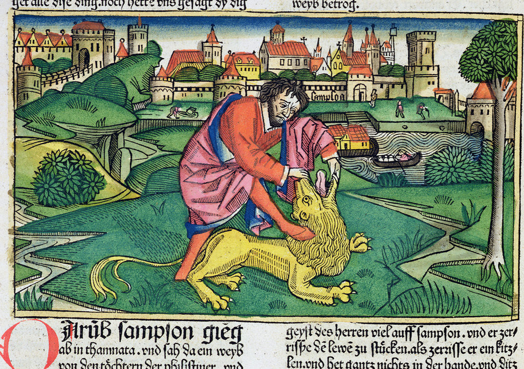 Detail of Judges 14:5-9: Samson slaying the lion by Anonymous