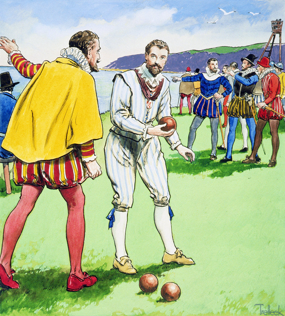 Detail of Sir Francis Drake playing bowls on Plymouth Hoe by Trelleek