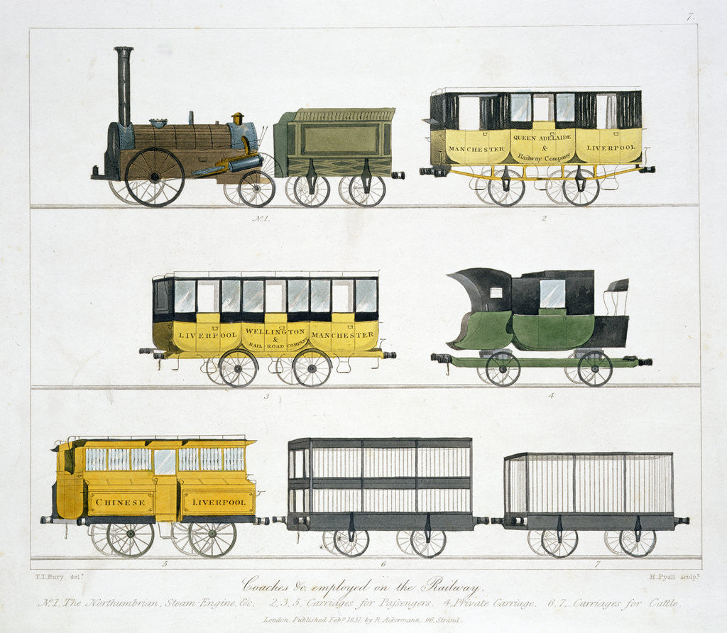 Detail of Coaches employed on the Liverpool and Manchester Railway by Henry Pyall