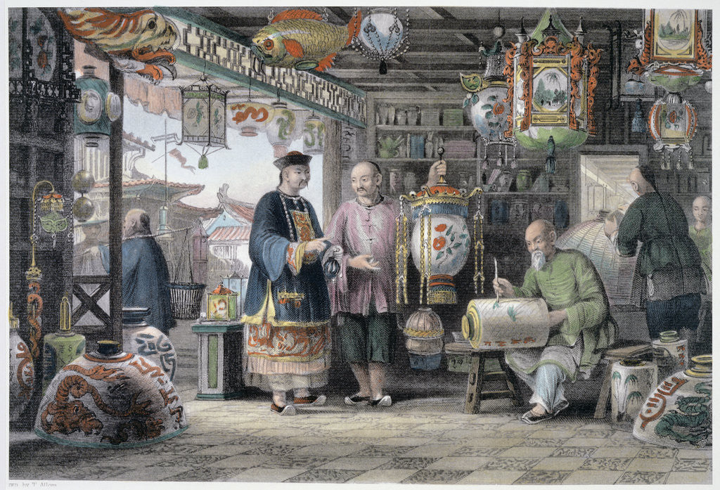 Detail of Showroom of a Lantern Merchant in Peking by Thomas Allom