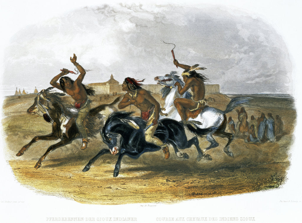 Detail of Horse Racing of Sioux Indians near Fort Pierre by Du Casse and Doherty