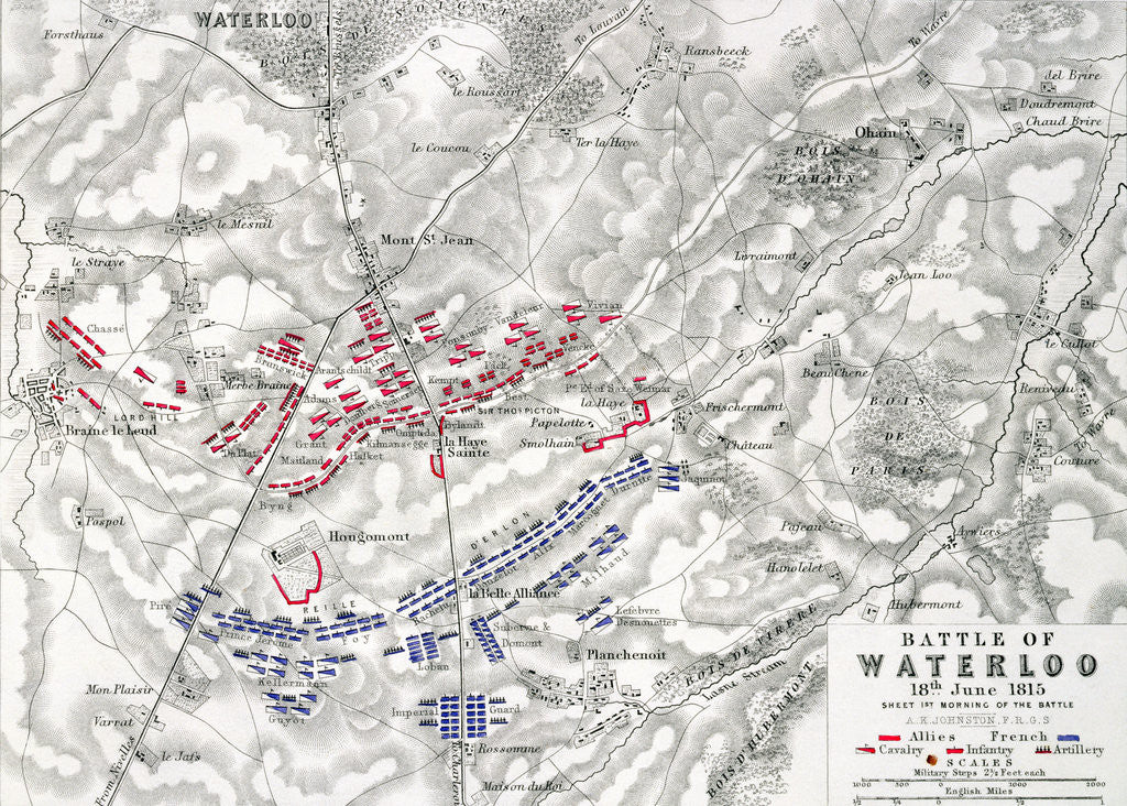Detail of Map of the Battle of Waterloo by Alexander Keith Johnston