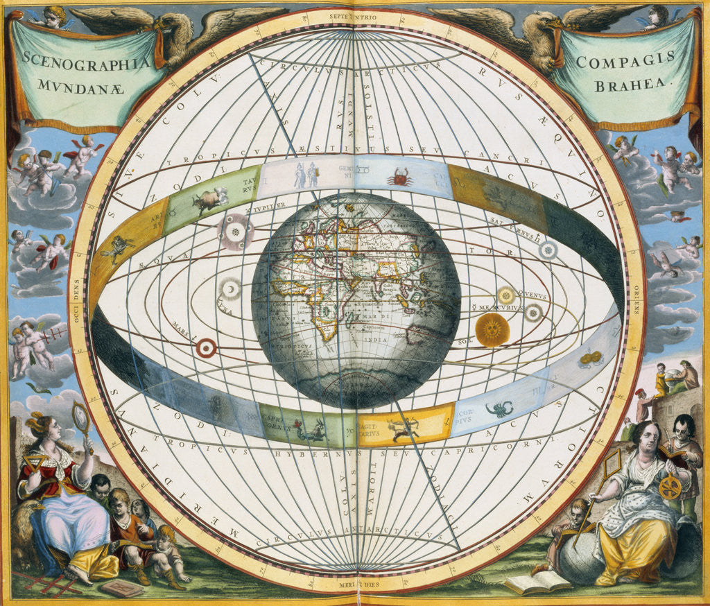 Detail of Map showing Tycho Brahe's system of planetary orbits around the Earth by Andreas Cellarius