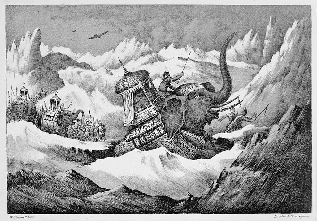 Detail of Hannibal and his war elephants crossing the Alps by Anonymous