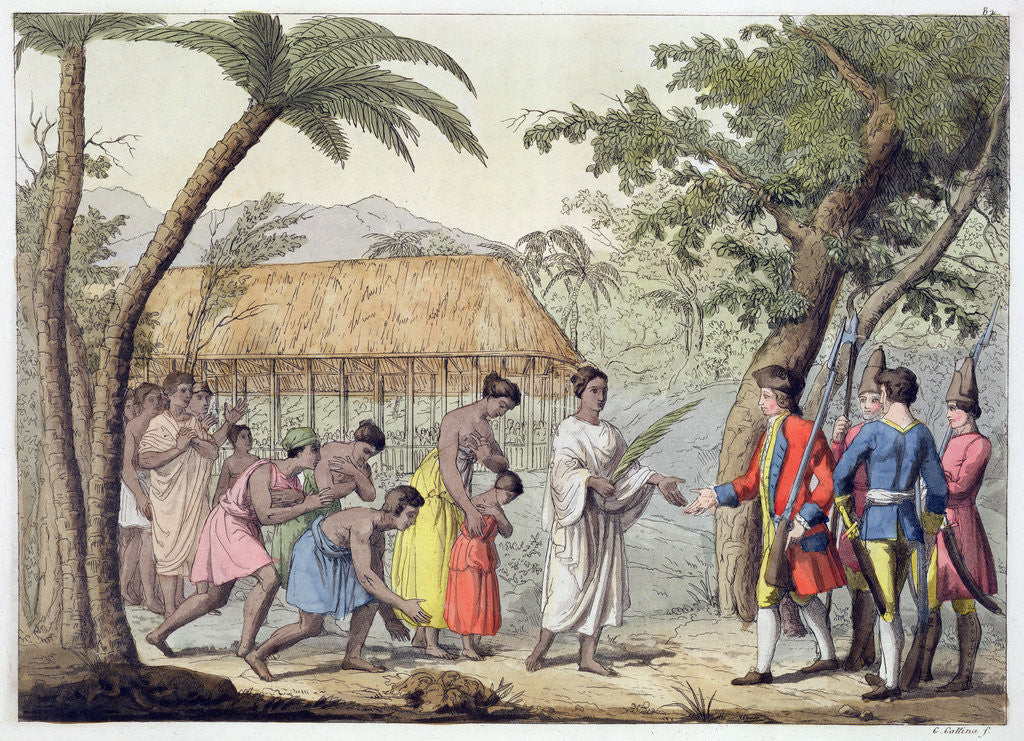 Detail of Captain Samuel Wallis being received by Queen Oberea on the Island of Tahiti by Gallo Gallina