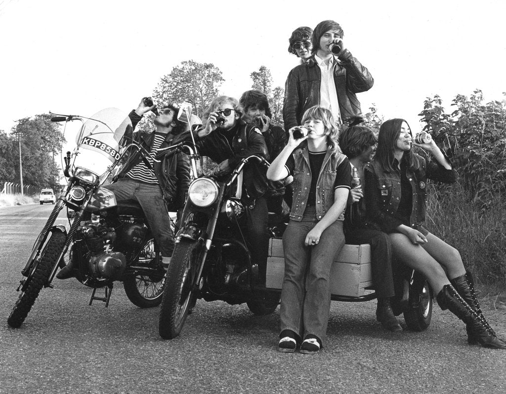 Detail of Young people on motorbikes, c1970 by Tony Boxall