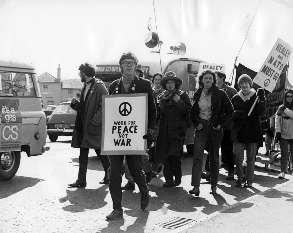 Detail of CND demo, Horley, Surrey, c1969 by Tony Boxall